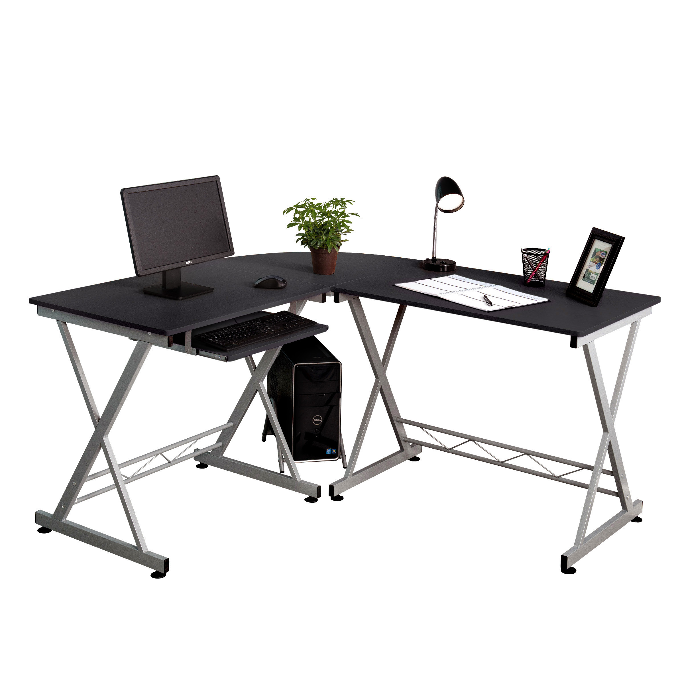 l shaped corner computer desk pc wood laptop table workstation home office black 699936099631 ebay. Black Bedroom Furniture Sets. Home Design Ideas
