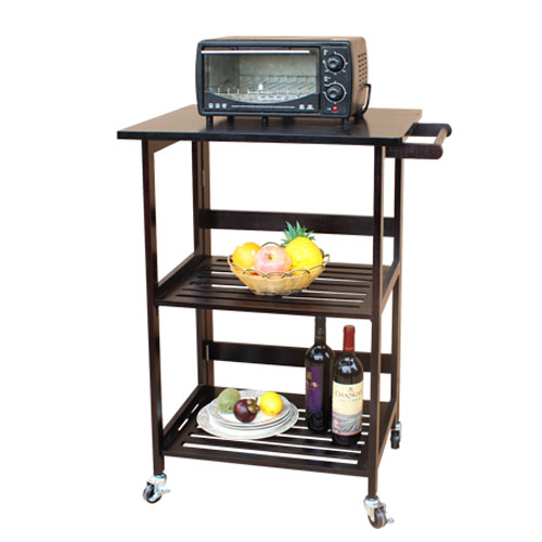 Kitchen Cart Fold Rolling Food Prep Dining Storage Table