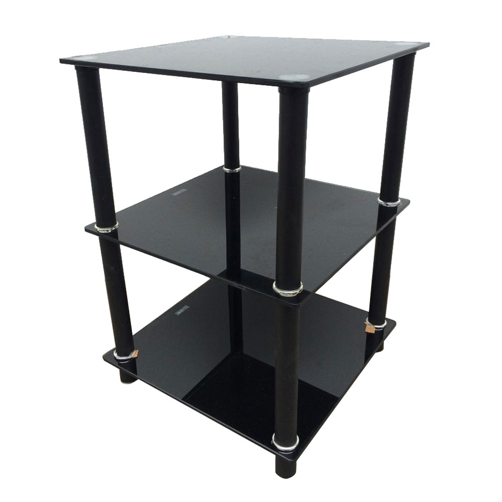 Living Room Display Storage: Black 3 Tier Square Glass Side Table Stand Living Room