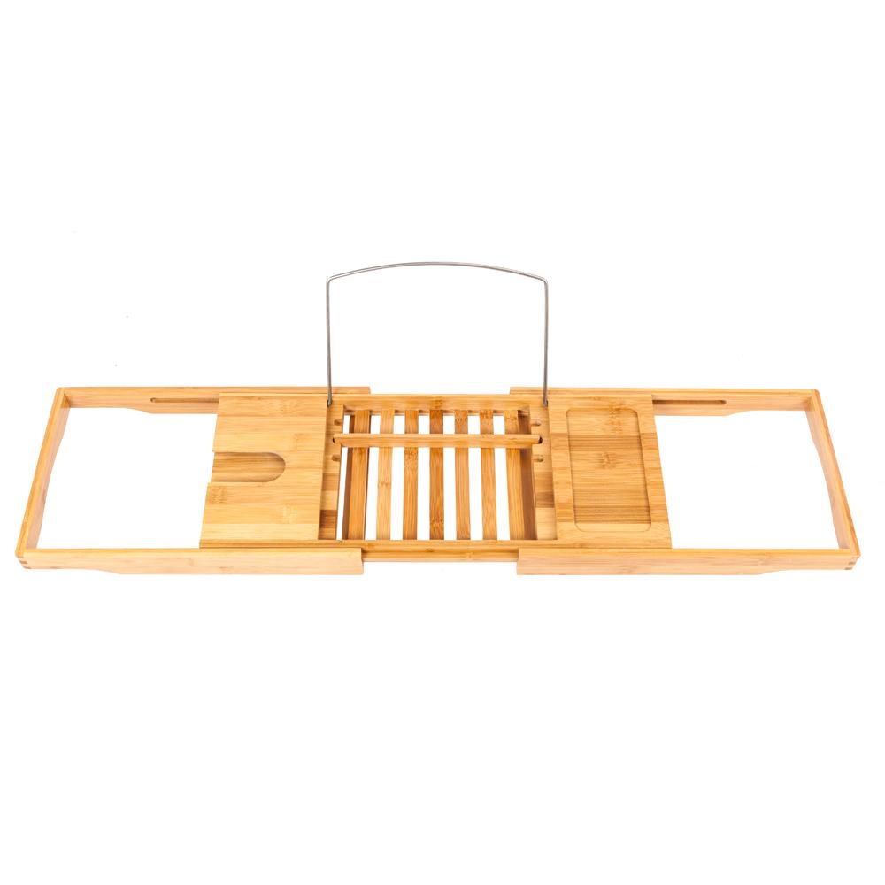 Bamboo bathtub caddy shower rack bath tub tray organizer for Bathroom tray organizer