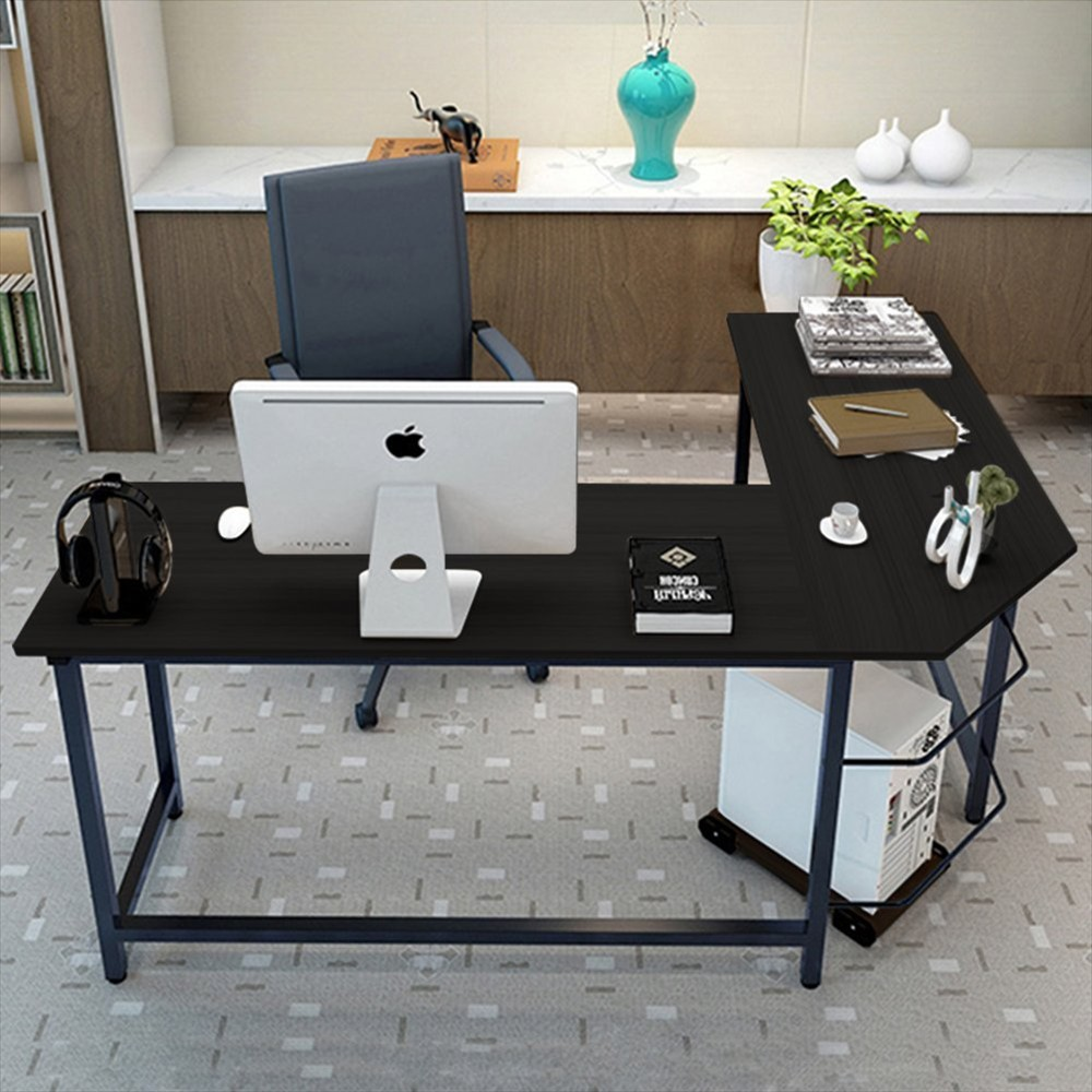 l shaped home office corner desk study laptop computer table black wood color ebay. Black Bedroom Furniture Sets. Home Design Ideas