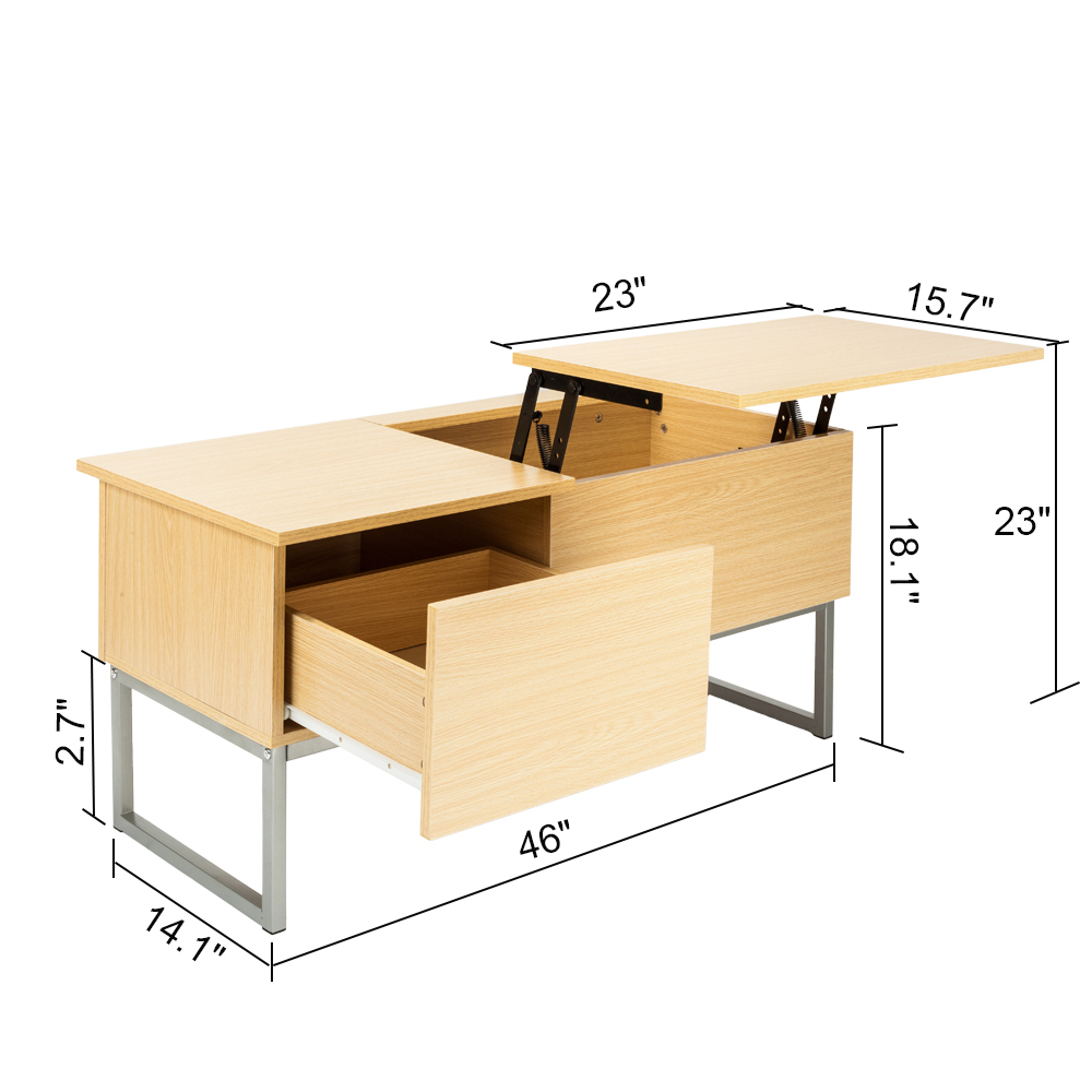 Storage Coffee Table With Tray: Foldable Wood Lift Top Coffee Table Tea Desk Storage Tray
