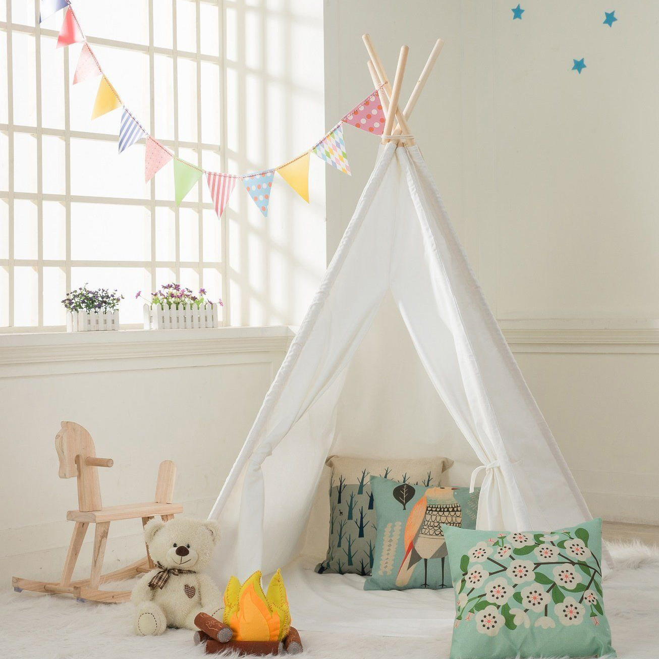 White Teepee Play Tent Kids Canvas Playhouse Sleeping Dome w/ Carrying Bag White  sc 1 st  eBay & White Teepee Play Tent Kids Canvas Playhouse Sleeping Dome w ...