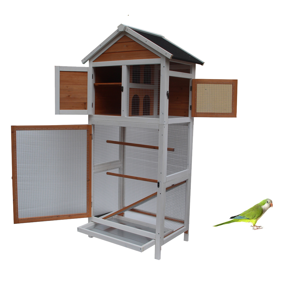 bf09d3d7a Bird Cage Wooden Cockatiel Parakeet Canary Finch Conure Play House Pet  Supply