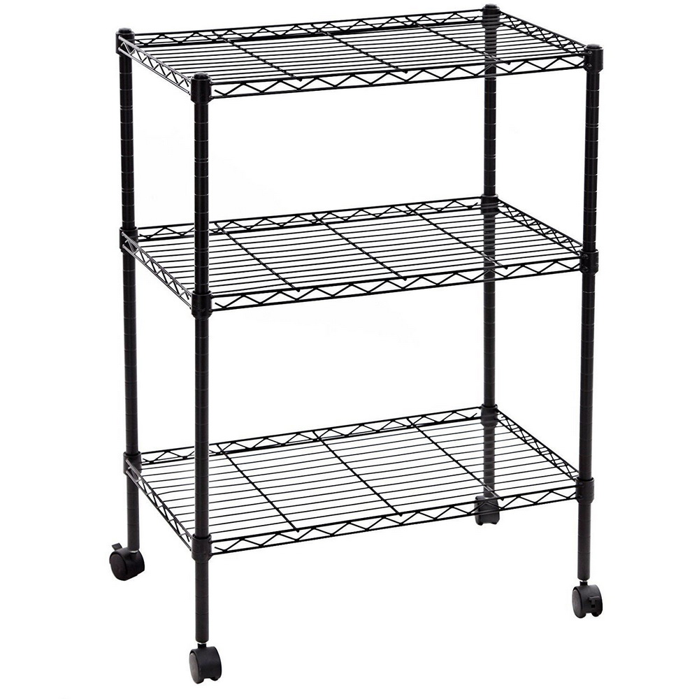 rolling shelf rack 3 tier shelf shelving adjustable wire metal storage 25636