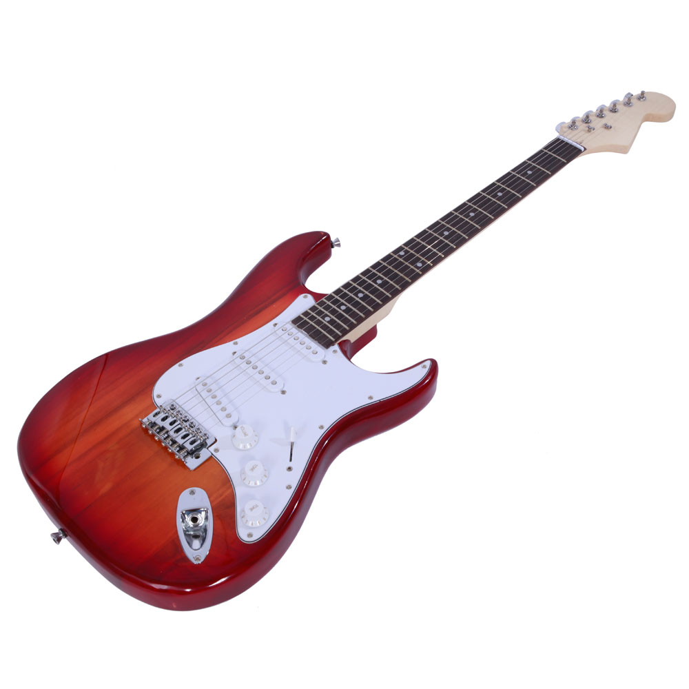 Rose Wood Fingerboard Electric Guitar Sunset Red Gigbag