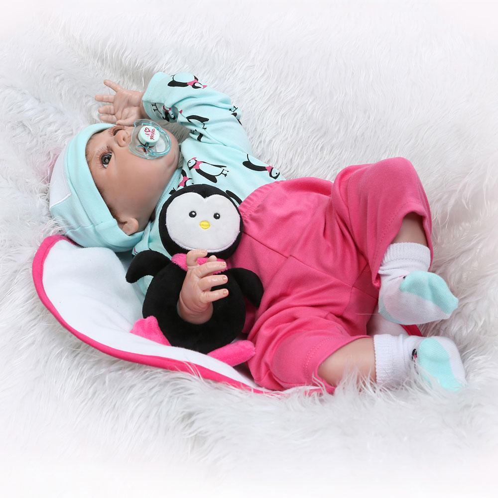 22 Quot Full Body Silicone Vinyl Reborn Baby Girl Doll Newborn