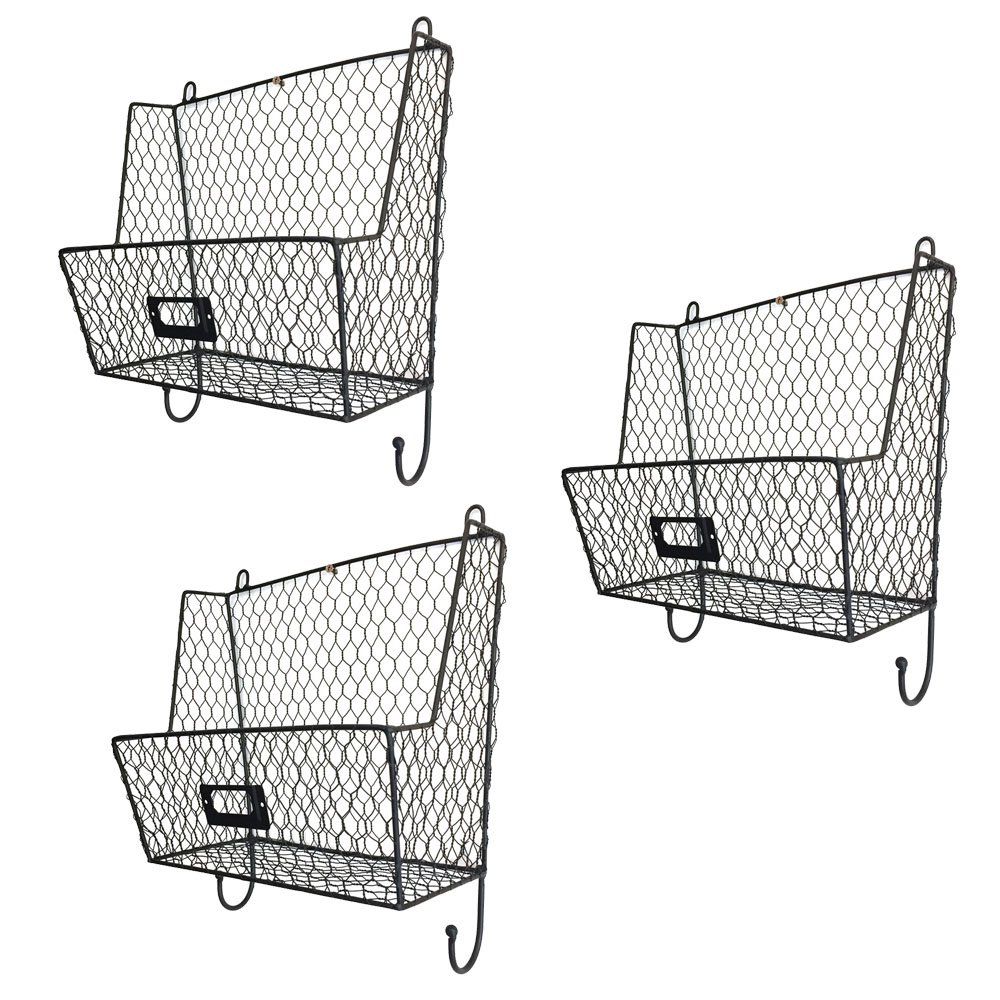 Mail Rack Wall Mount Key Letter Fruit Basket Holder Metal 3 Tier ...