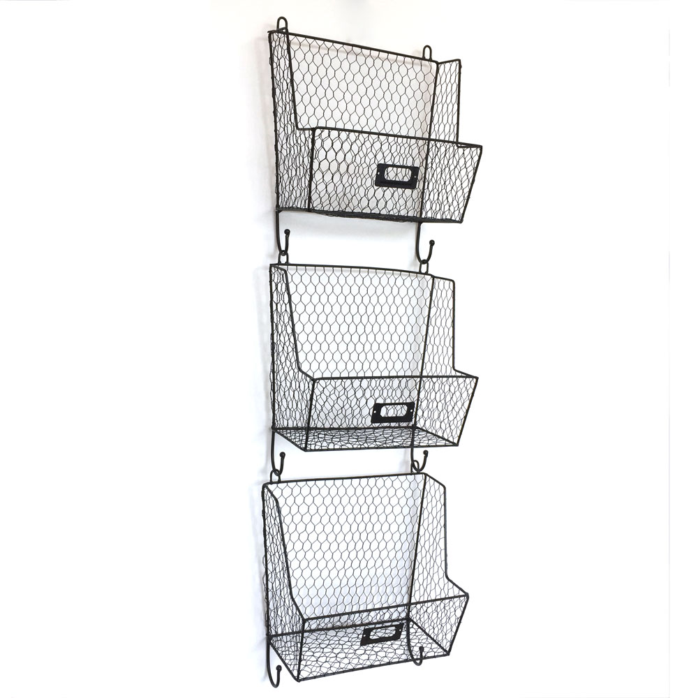 Mail rack wall mount key letter fruit basket holder metal 3 tier organizer new ebay - Wall mount mail and key rack ...
