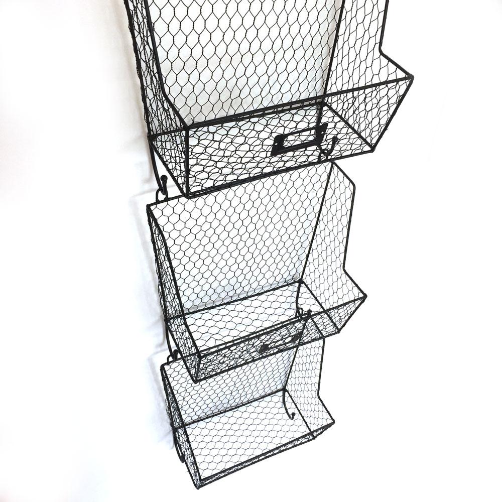 Mail Rack Wall Mount Key Letter Fruit Basket Holder Metal 3 Tier Organizer  New