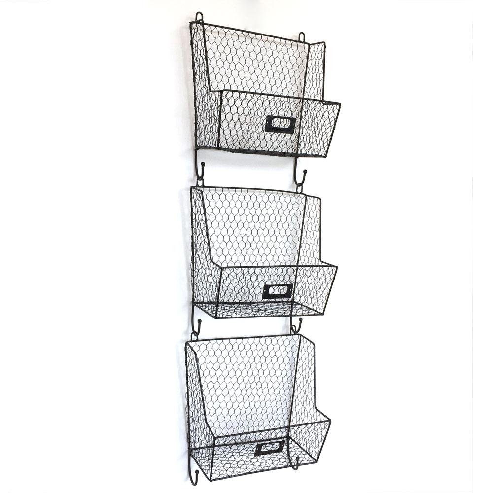 3 Tier Mail Letter Rack Key Holder Hook Wall Mount Storage