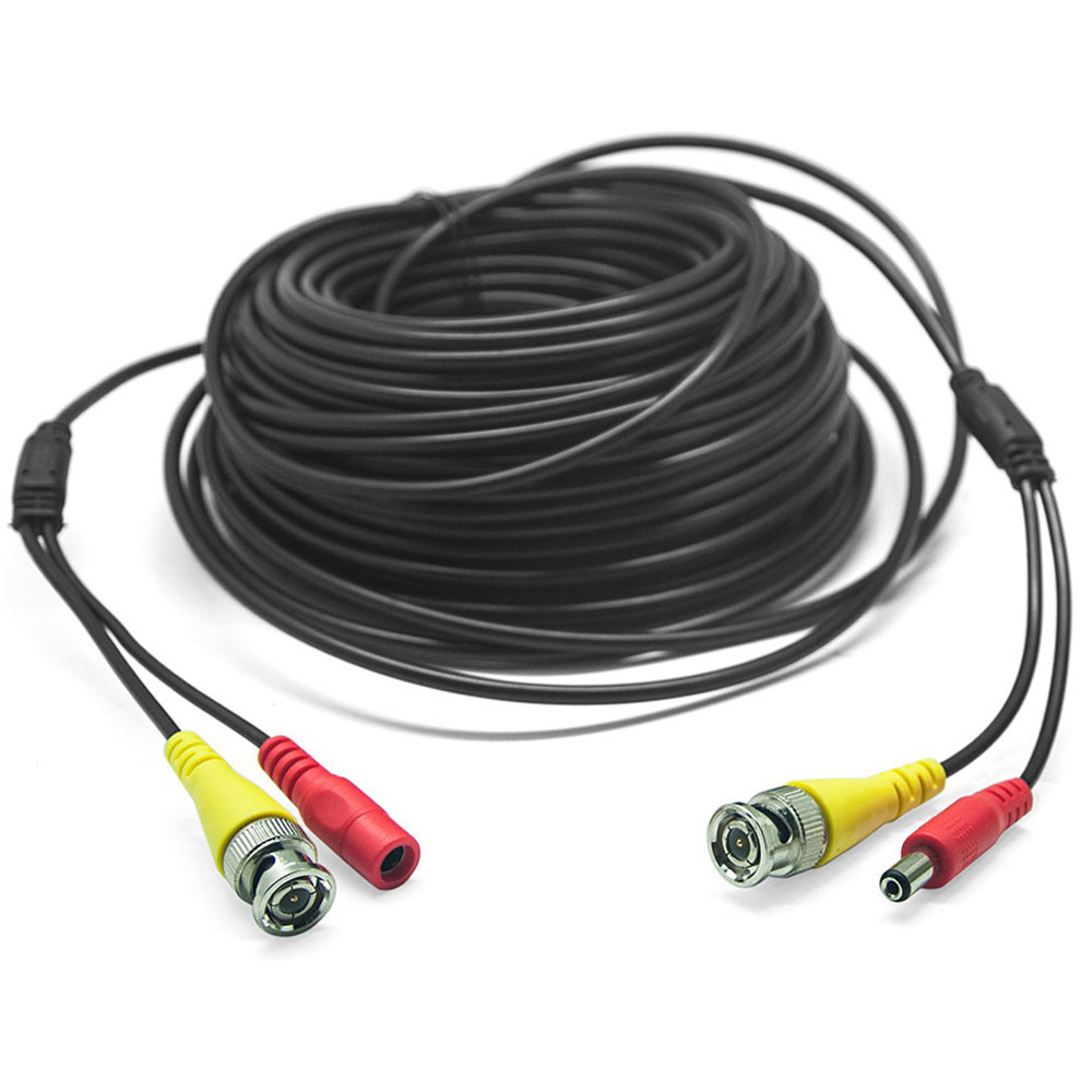 60ft 20m Cctv Home Security Camera Cable Video Power Dvr Wire Cord Bnc Rca Dc