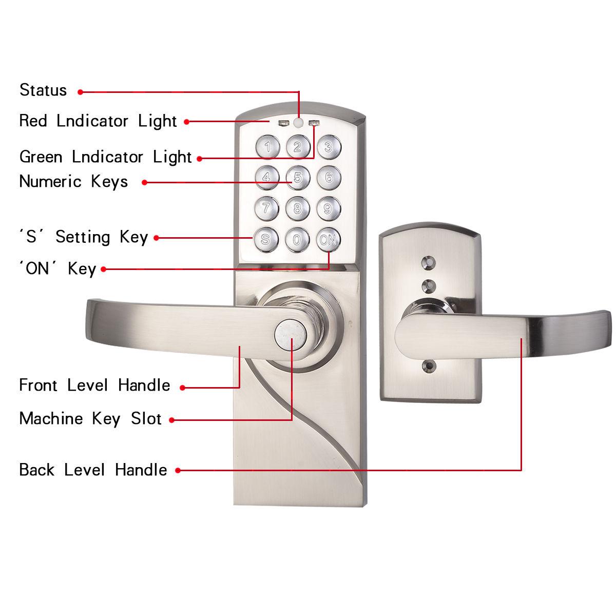digital electronic code keyless keypad security entry door lock right handle new. Black Bedroom Furniture Sets. Home Design Ideas
