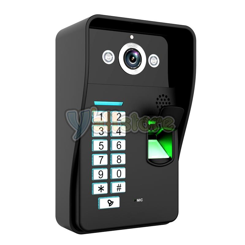 fingerprint wifi wireless video door phone doorbell home intercom system ir rfid. Black Bedroom Furniture Sets. Home Design Ideas