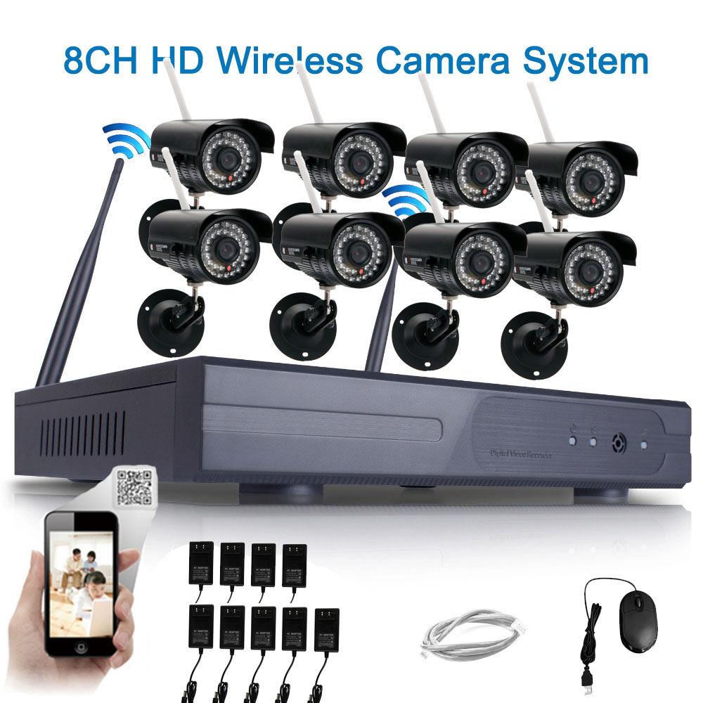 8pcs WIFI Outdoor HD 720P IP Camera System 8CH CCTV NVR Wireless Security Video | eBay