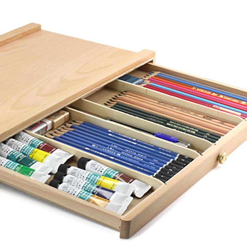 Portable Art Drawer Tabletop Vintage Wood Case Easel Set