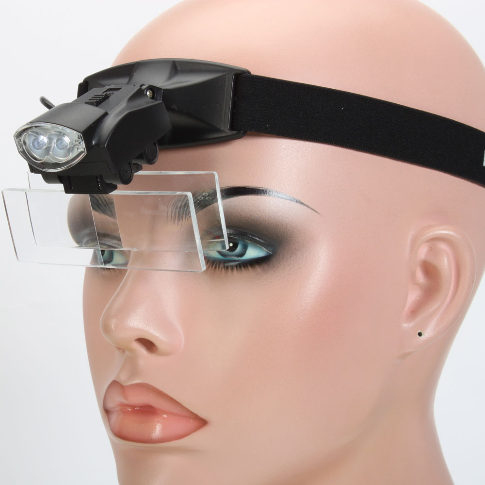 5 lens 1 3 5x led light lamp loop head headband magnifier for Craft light with magnifying glass
