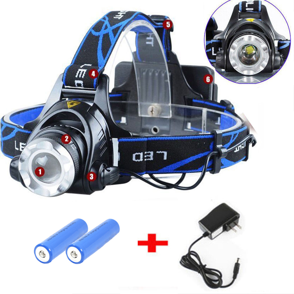 6000lm Led Headlamp 18650 Rechargeable Headlight 3modes