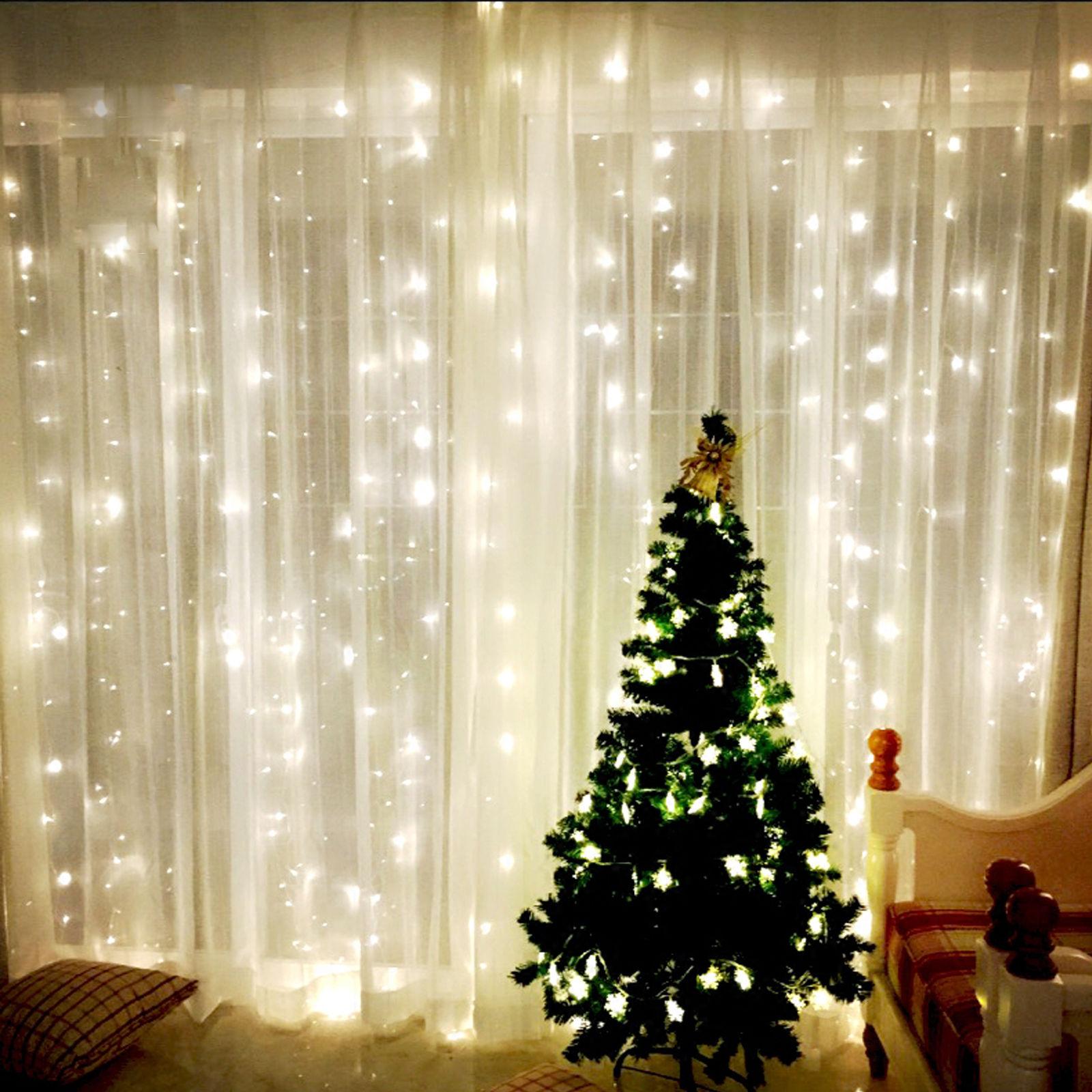 Warm White 300 LED Fairy Curtain String Lights Wedding