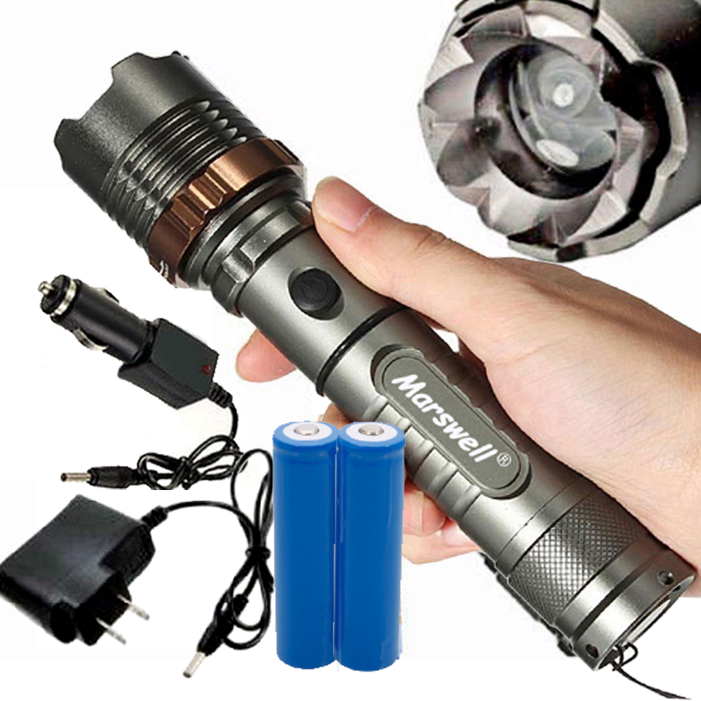 5000Lumen T6 LED Zoom Flashlight Torch Rechargeable With
