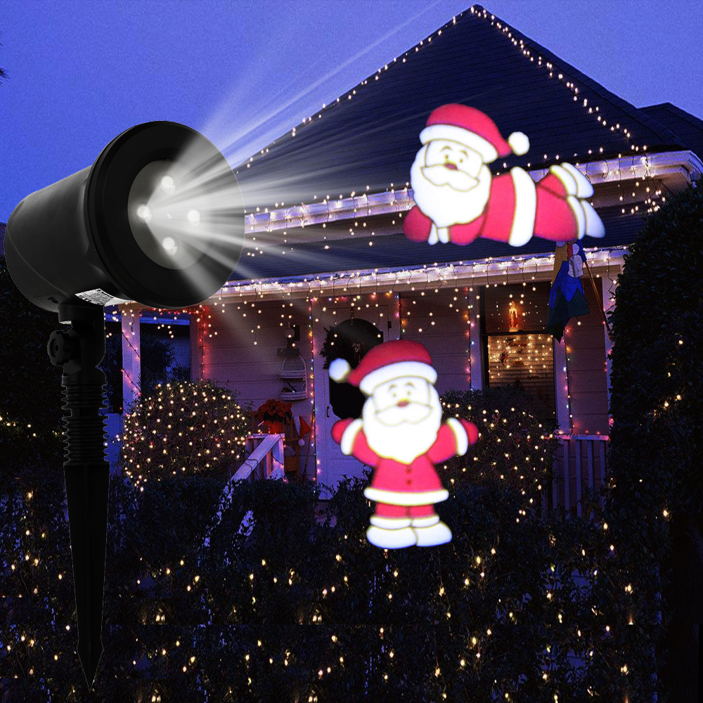 Kshioe Christmas Party Santa Claus LED Night Light Garden Projector ...