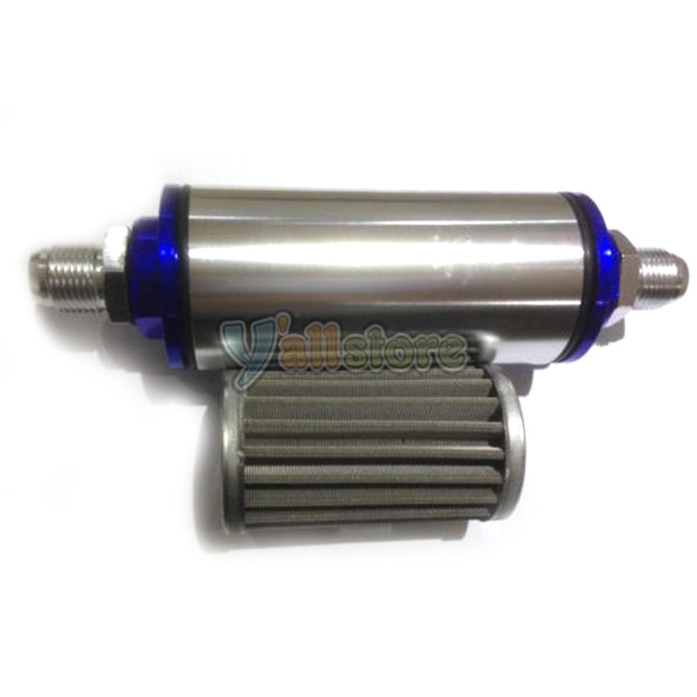 Universal Fuel Filter High Flow 100 Micron Cleanable SS AN6 AN8 AN10 Silver