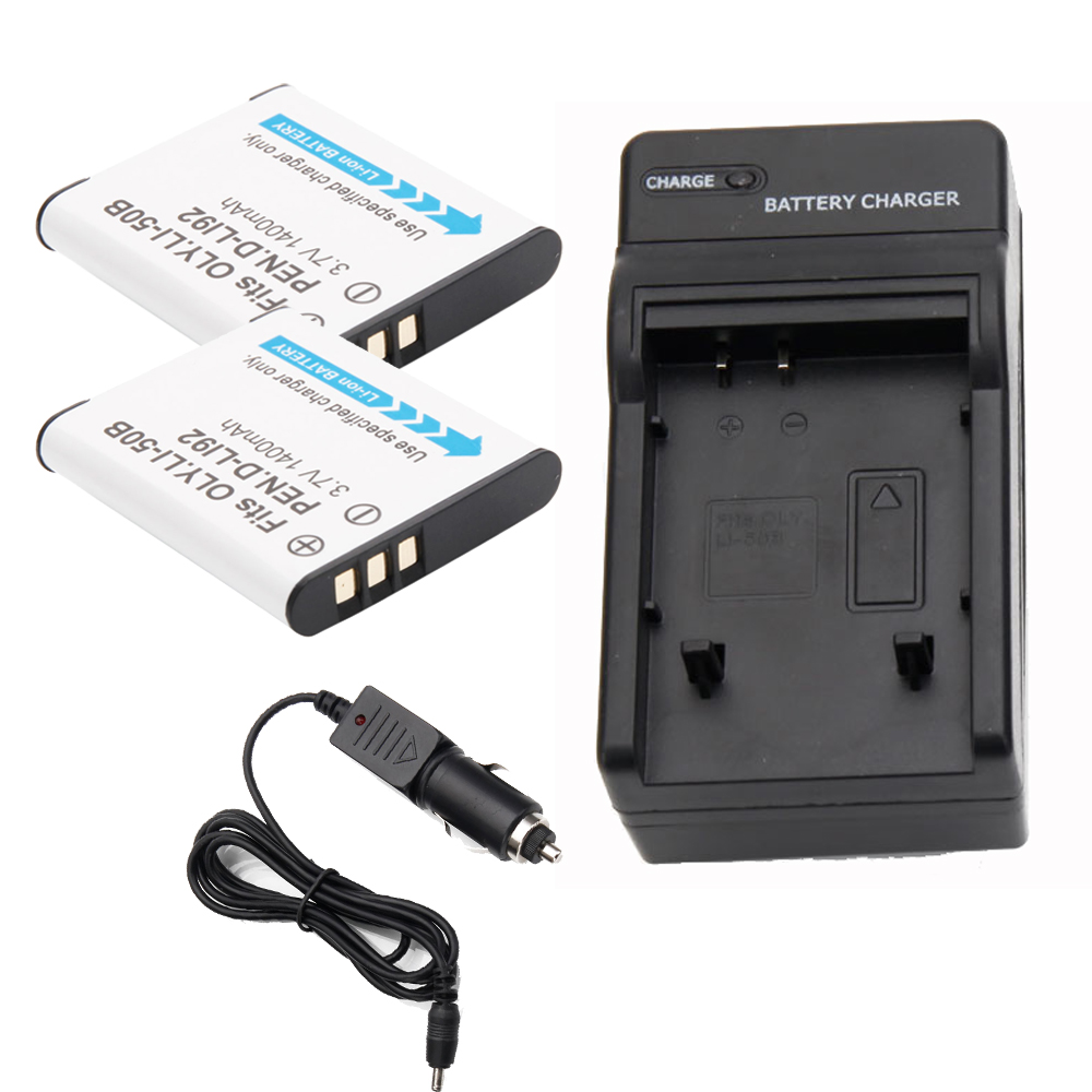 Two Battery For Olympus Li 50b Dli92 Stylus 1010 1020 Pentax Ricoh X 2 Charger Ebay