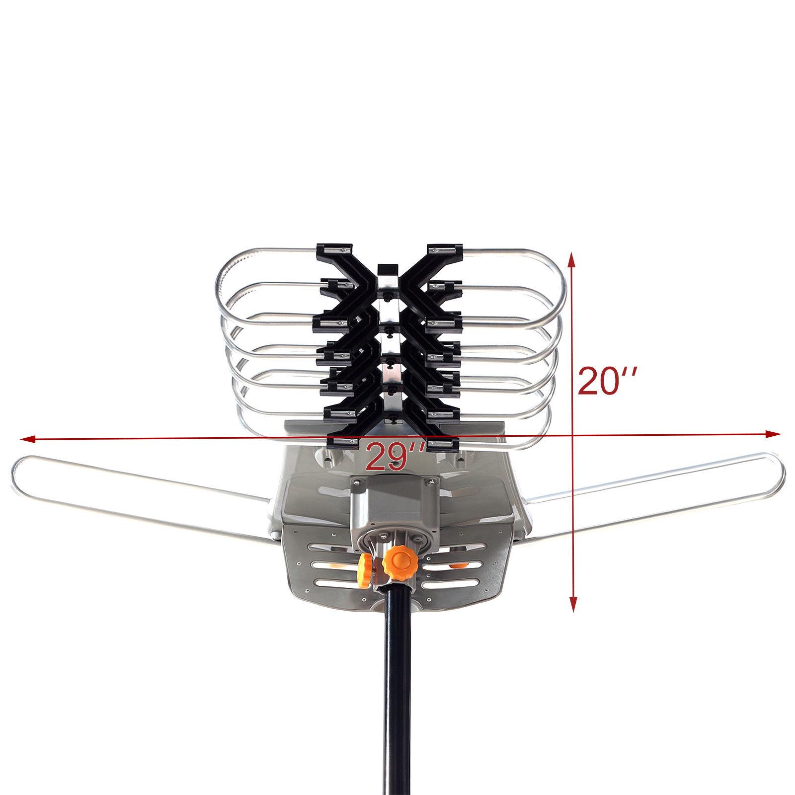 150mile Hdtv 1080p Outdoor Amplified Digital Tv Antenna 360 Rotor 36db Uhf Vhf