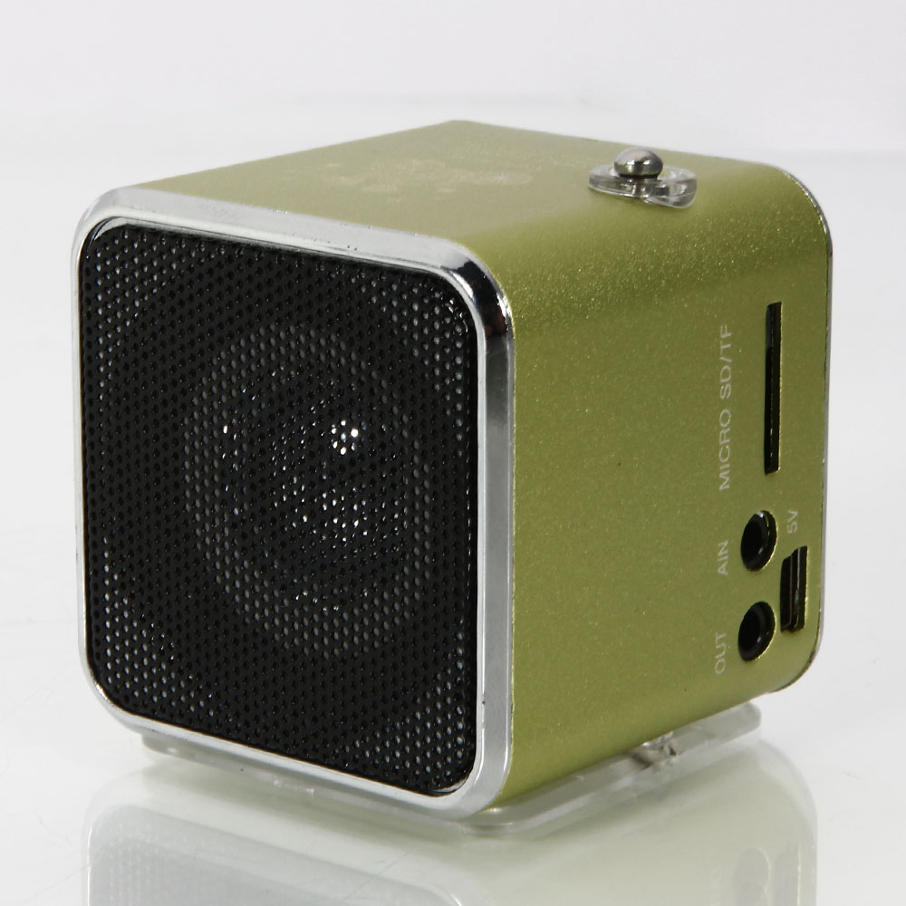 td v26 mini usb stereo speaker music player portable clock fm radio pc mp3 green ebay. Black Bedroom Furniture Sets. Home Design Ideas