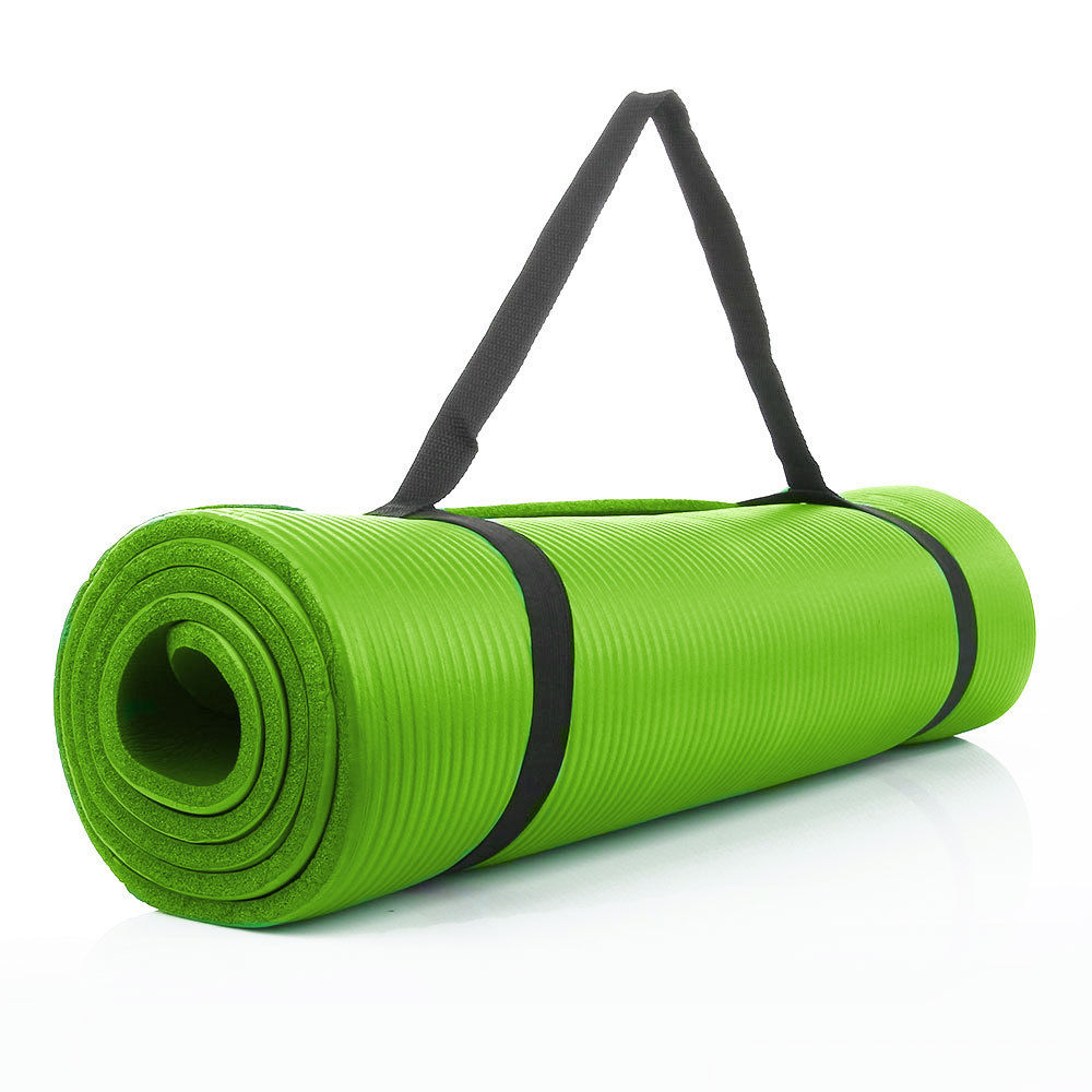 """10mm Extra Thick Non-slip Yoga Mat Pad Exercise Fitness Pilates w// Strap 72/""""x24/"""""""