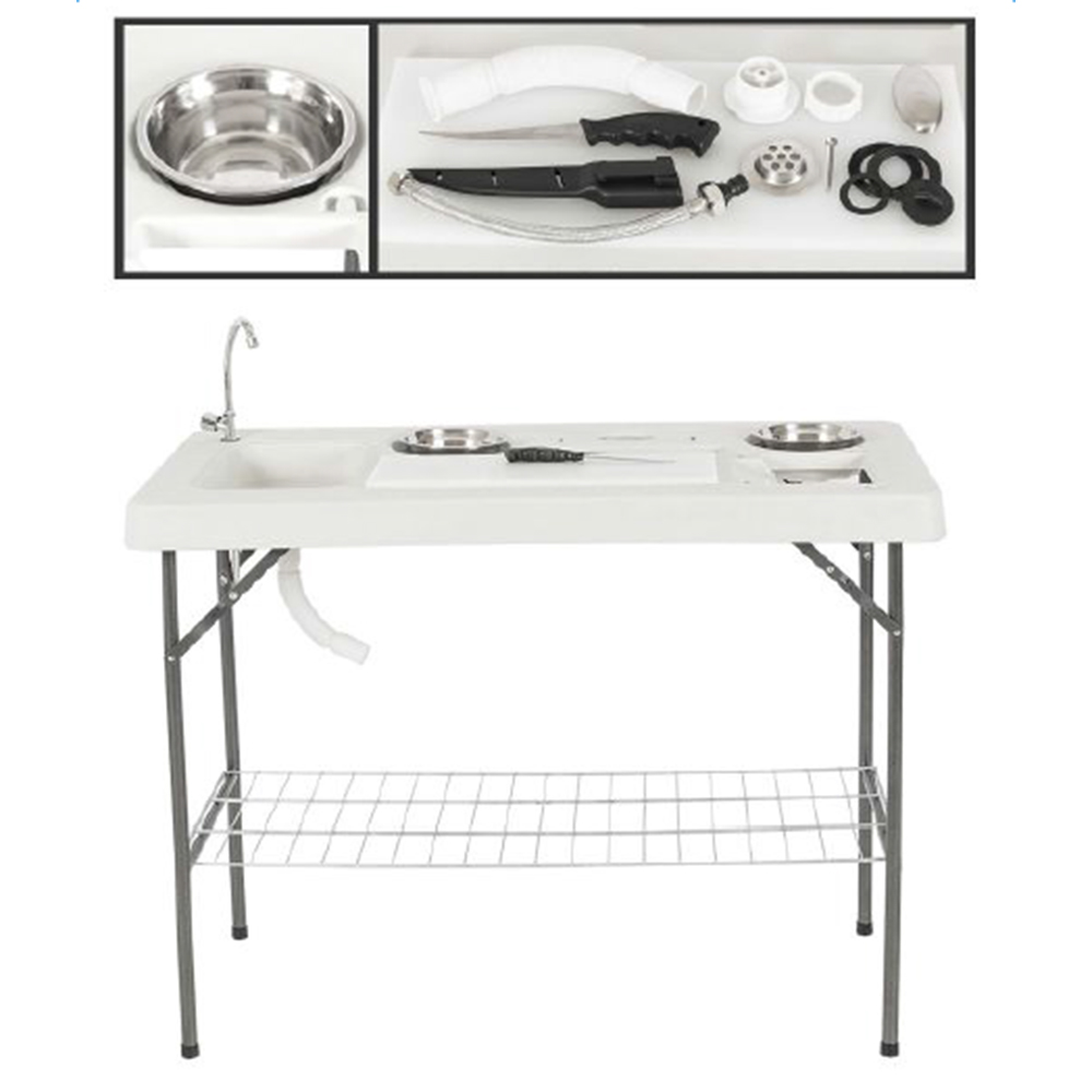 Portable Fish Cleaning Cutting Table Set Camping Picnic w/ Faucet ...