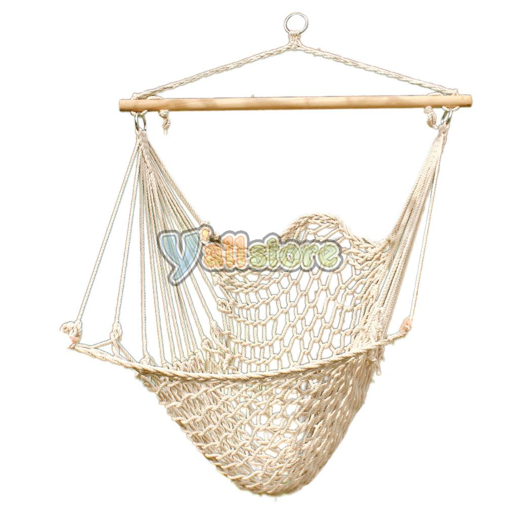 hanging swing chair weave rope hammock outdoor porch yard