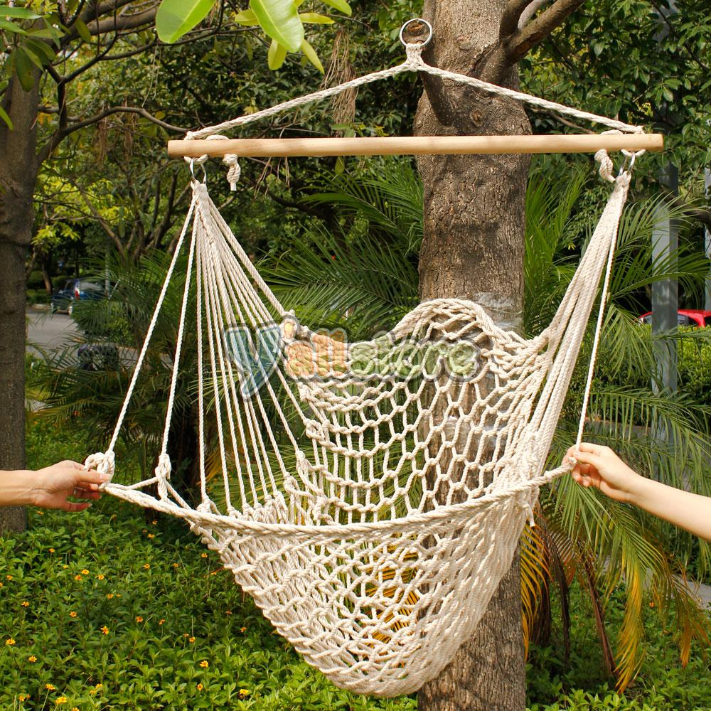 Hanging swing chair weave rope hammock outdoor porch yard for Rope hammock plans