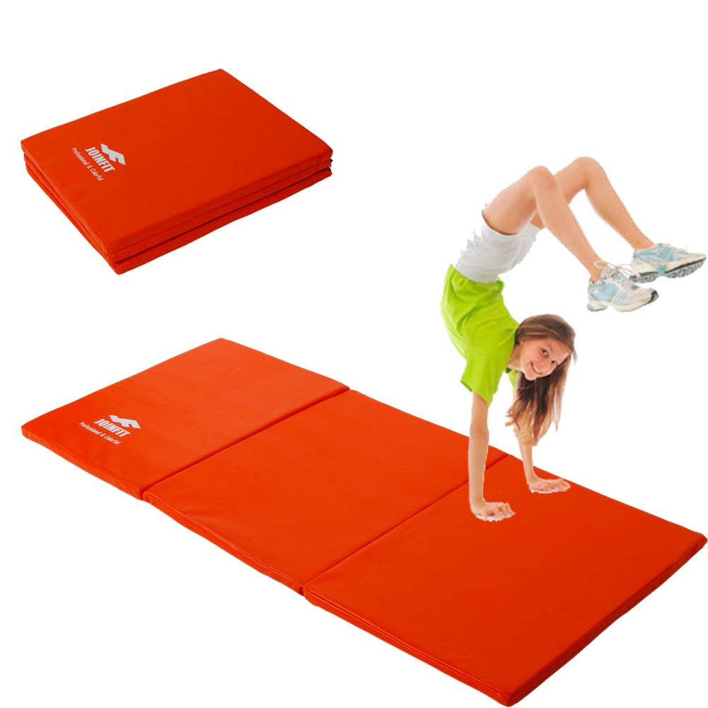 new folding panel gymnastics mat gym exercise yoga tri mat pad 55 x 24 orange ebay. Black Bedroom Furniture Sets. Home Design Ideas