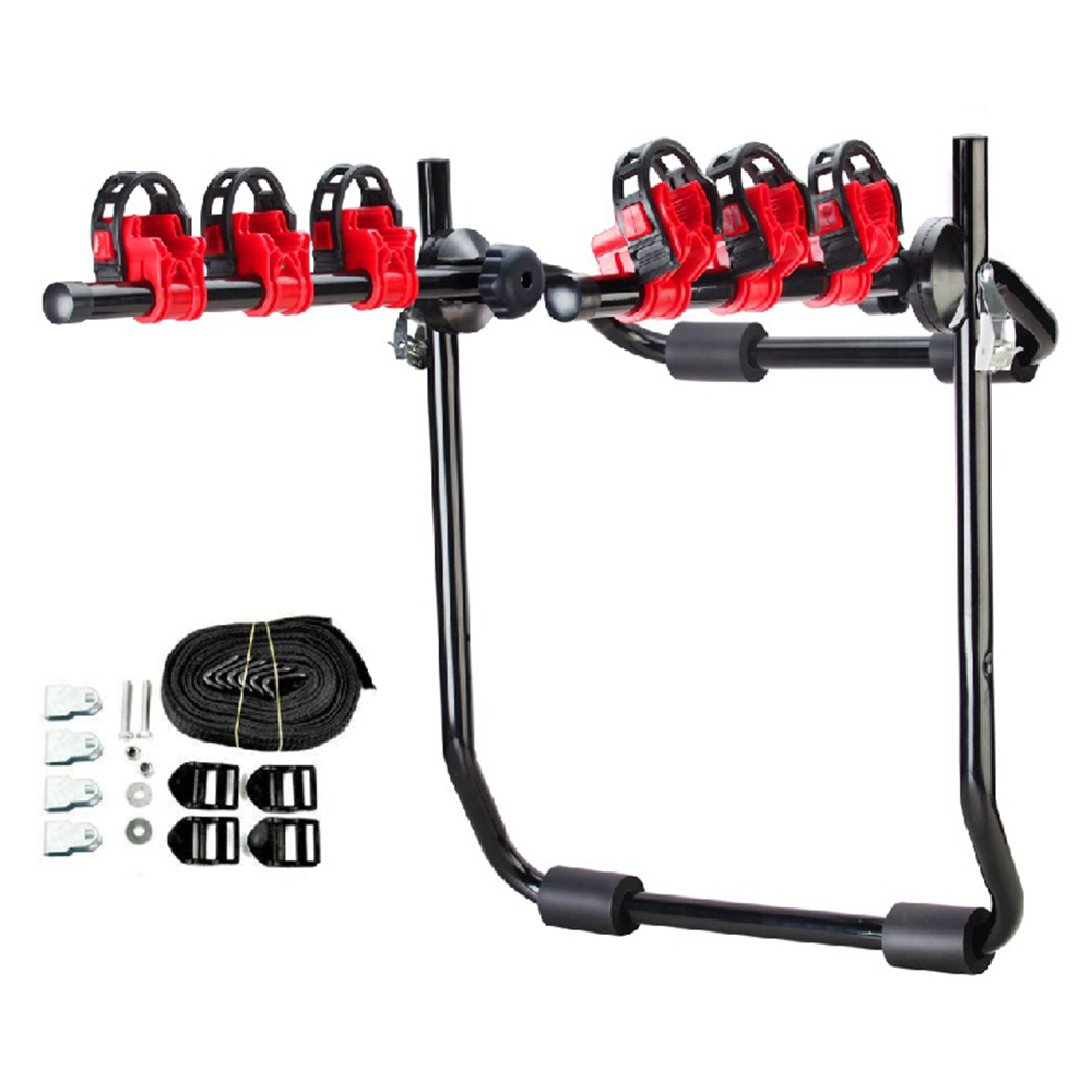 Trunk-Mount 3-Bike Carrier Hatchback SUV Car Sport Bicycle