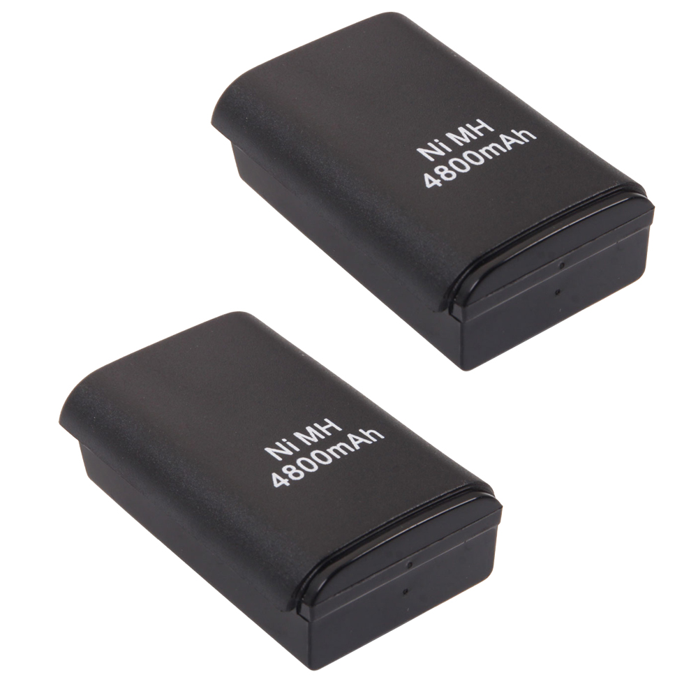 2pcs wireless 4800 mah controller rechargeable battery pack for xbox 360 black. Black Bedroom Furniture Sets. Home Design Ideas