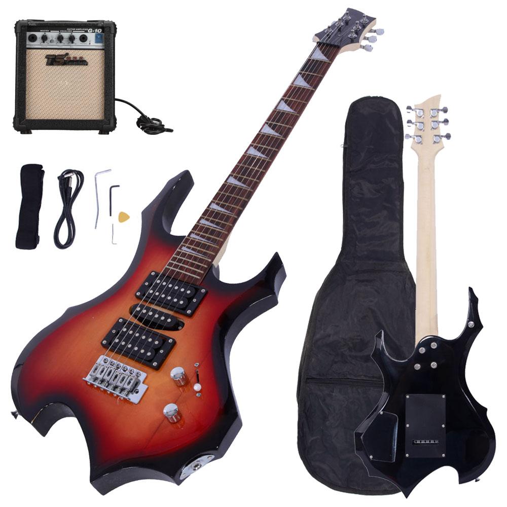 new rock 6 string sunset electric guitar w 10w amp gigbag strap cord pick ebay. Black Bedroom Furniture Sets. Home Design Ideas