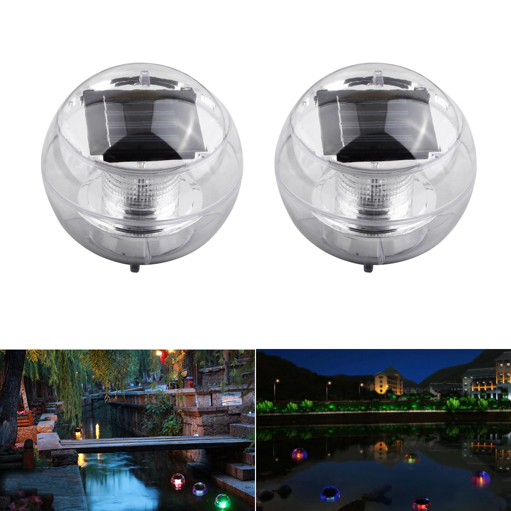 2x Led Light Solar Power Swimming Color Changing Floating Lights Path Pool Lamp Ebay