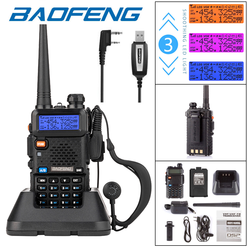 Details about Baofeng UV-5R VHF UHF Dual Band Two Way Radio Walkie Talkie +  Programming Cable