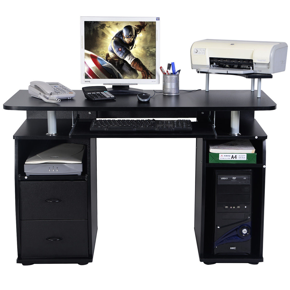 printer and computer desktop desk stand