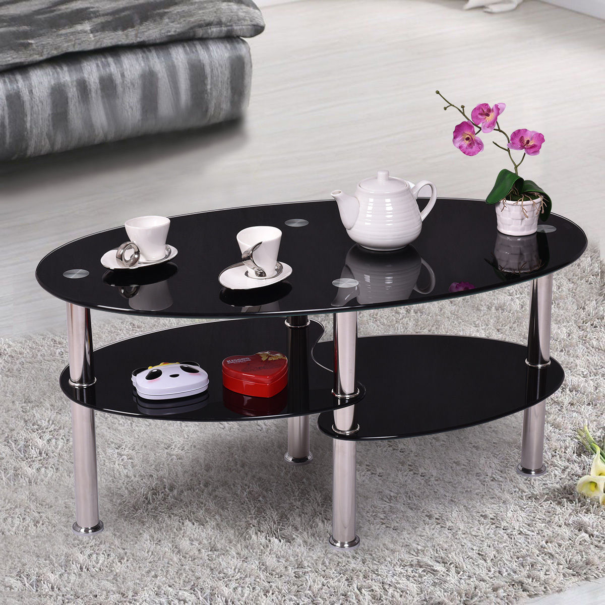 Tempered glass oval side coffee table shelf chrome base - Glass side tables for living room uk ...