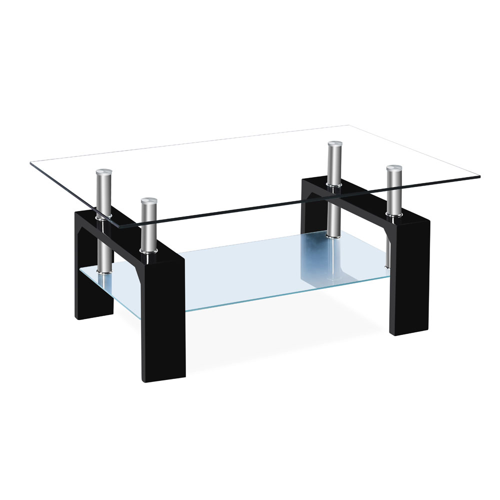 Details About Rectangular Glass Coffee Table Shelf Chrome Walnut Wood  Living Room Furniture