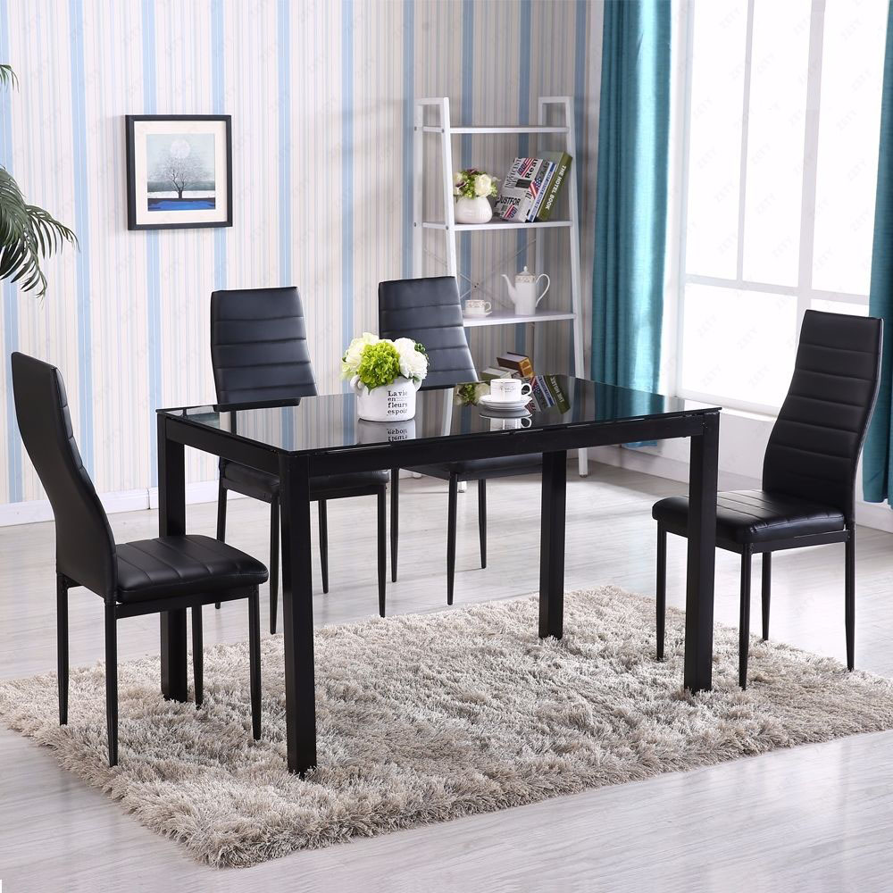5 Piece Dining Table Set 4 Chair Glass Metal Kitchen Room