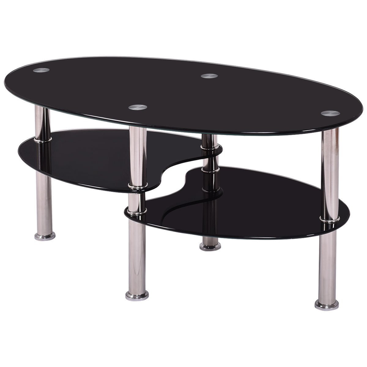 Tempered Glass Oval Side Coffee Table Shelf Chrome Base Living Room Black New Ebay