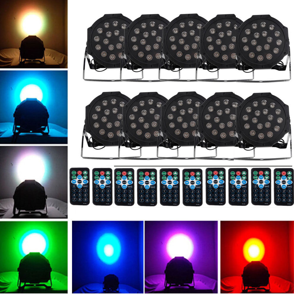 Led Wall Dj Light: 10 X 18 LED RGB DMX Light PAR CAN DJ Stage Lighting For