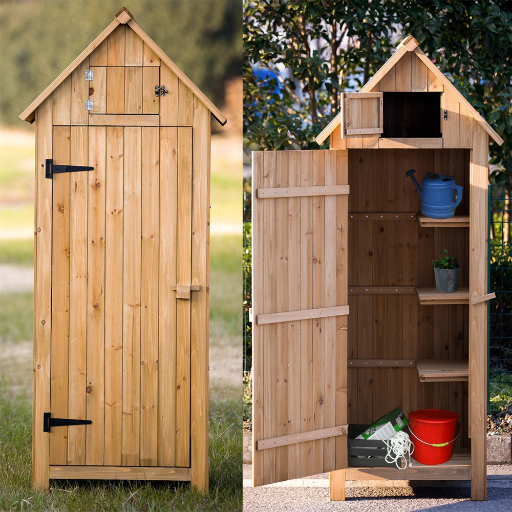 teak tool sheds patio x shed lawn doors double cm storage shelves outsunny garden outdoor cabinet wooden