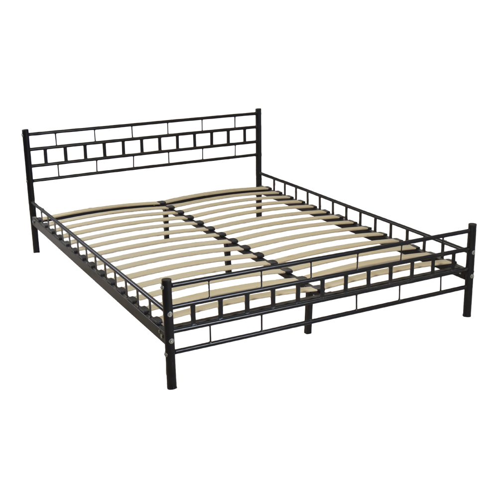 Black Queen Size Wood Slats Bed Frame Platform Headboard Footboard ...
