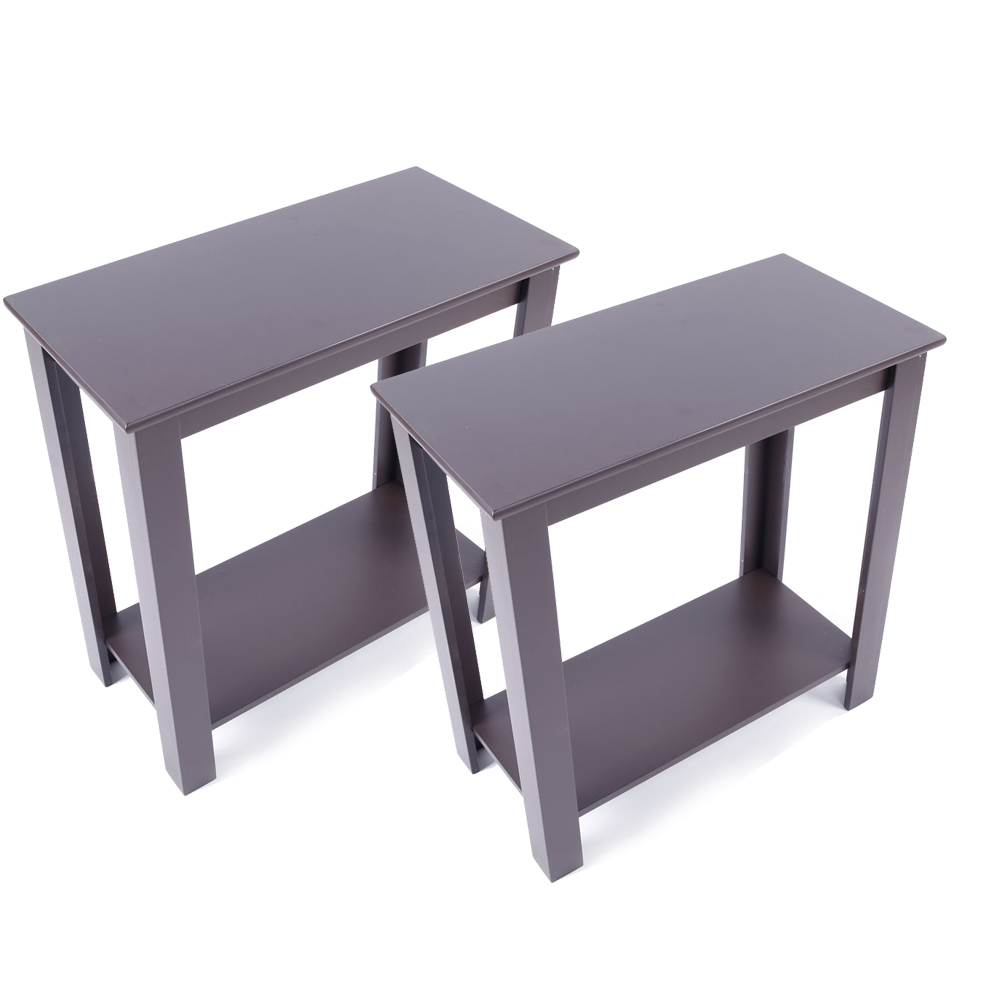 Details about 2x Chair Side Table Coffee Sofa Wooden End Shelf Living Room  Furniture Espresso