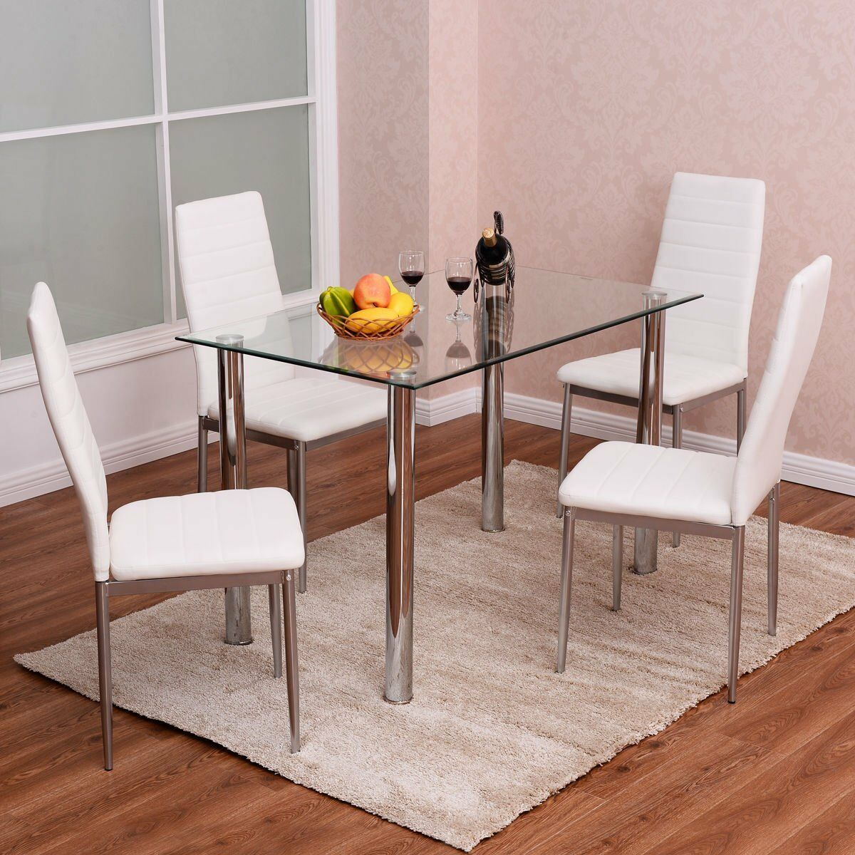 Details About 5 Piece Dining Table Set Glass Steel W 4 Chairs Kitchen Room Breakfast Furniture