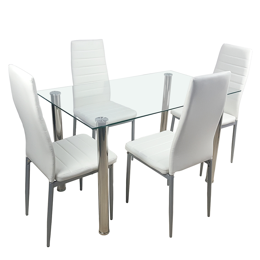 5 Piece Dining Table Set Glass Steel W/4 Chairs Kitchen